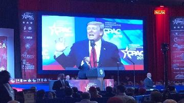 2 - Le facce di Trump durante il discorso al Cpac 2019