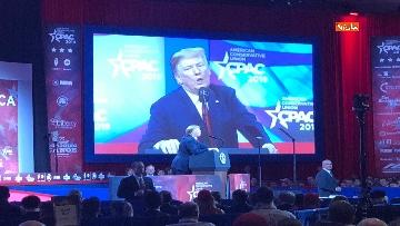 3 - Le facce di Trump durante il discorso al Cpac 2019