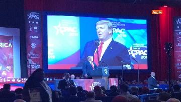 1 - Le facce di Trump durante il discorso al Cpac 2019