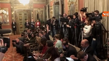 8 - Berlusconi, Bernini e Gelmini al termine delle Consultazioni al Senato