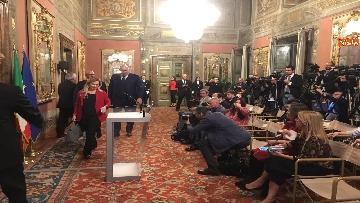 7 - Meloni, Rampelli e Crosetto al termine delle Consultazioni al Senato