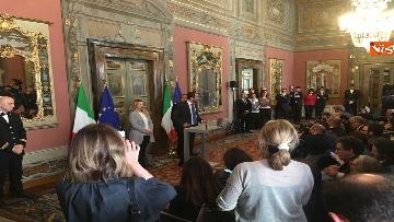 9 - Salvini, Berlusconi, Meloni al termine delle Consultazioni con la presidente del Senato Casellati