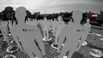 1 - L'iniziativa Ugl a Marcinelle, 262 sagome bianche per ricordare minatori morti 62 anni fa