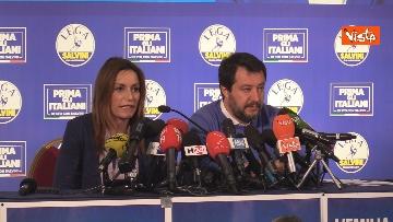 3 - Salvini e Borgonzoni in conferenza stampa sul risultato del voto in Emilia-Romagna, le immagini