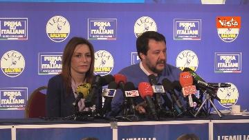 7 - Salvini e Borgonzoni in conferenza stampa sul risultato del voto in Emilia-Romagna, le immagini