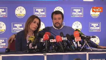 4 - Salvini e Borgonzoni in conferenza stampa sul risultato del voto in Emilia-Romagna, le immagini