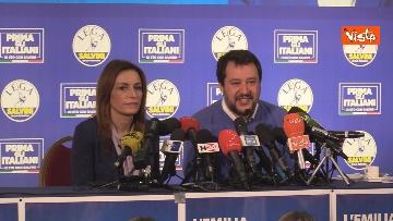 8 - Salvini e Borgonzoni in conferenza stampa sul risultato del voto in Emilia-Romagna, le immagini