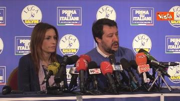 5 - Salvini e Borgonzoni in conferenza stampa sul risultato del voto in Emilia-Romagna, le immagini