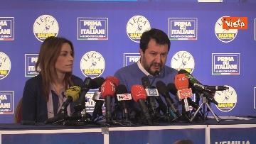 2 - Salvini e Borgonzoni in conferenza stampa sul risultato del voto in Emilia-Romagna, le immagini