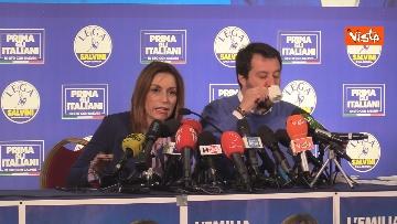 6 - Salvini e Borgonzoni in conferenza stampa sul risultato del voto in Emilia-Romagna, le immagini