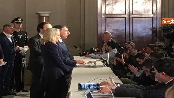 12 - Consultazioni, il gruppo per le Autonomie del Senato a margine del colloquio con Mattarella immagini