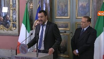 3 - Salvini, Berlusconi, Meloni al termine delle Consultazioni con la presidente del Senato Casellati