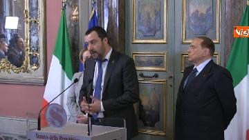 5 - Salvini, Berlusconi, Meloni al termine delle Consultazioni con la presidente del Senato Casellati