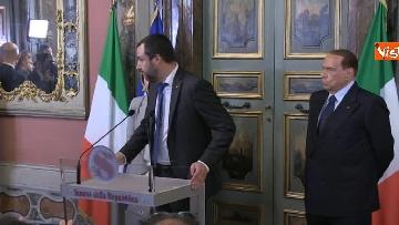 6 - Salvini, Berlusconi, Meloni al termine delle Consultazioni con la presidente del Senato Casellati