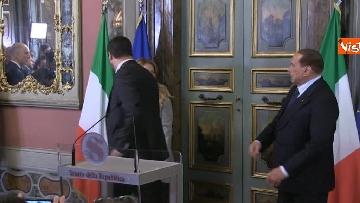 7 - Salvini, Berlusconi, Meloni al termine delle Consultazioni con la presidente del Senato Casellati