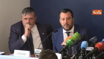 5 - Salvini, Le Pen in conferenza con il segretario UGL Capone