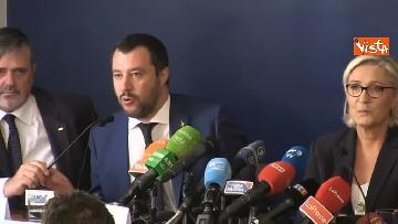 4 - Salvini, Le Pen in conferenza con il segretario UGL Capone