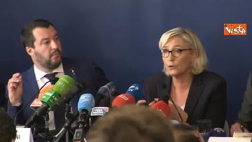 2 - Salvini, Le Pen in conferenza con il segretario UGL Capone
