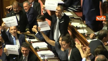 5 - Dl dignità approvato al Senato con 155 voti, Di Maio abbraccia Conte e il Pd protesta in aula