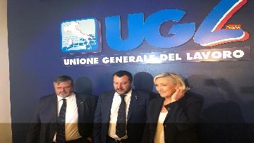 7 - Salvini, Le Pen in conferenza con il segretario UGL Capone
