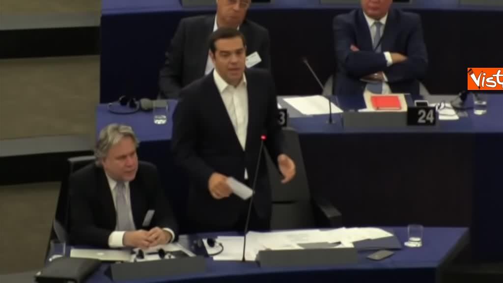 11-09-18 Tsipras al Parlamento Ue per lo State of Union, il dibattito in aula, immagini 11