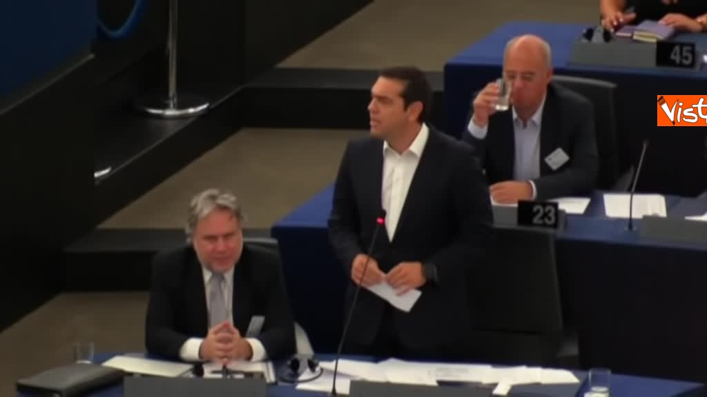 11-09-18 Tsipras al Parlamento Ue per lo State of Union, il dibattito in aula, immagini 12
