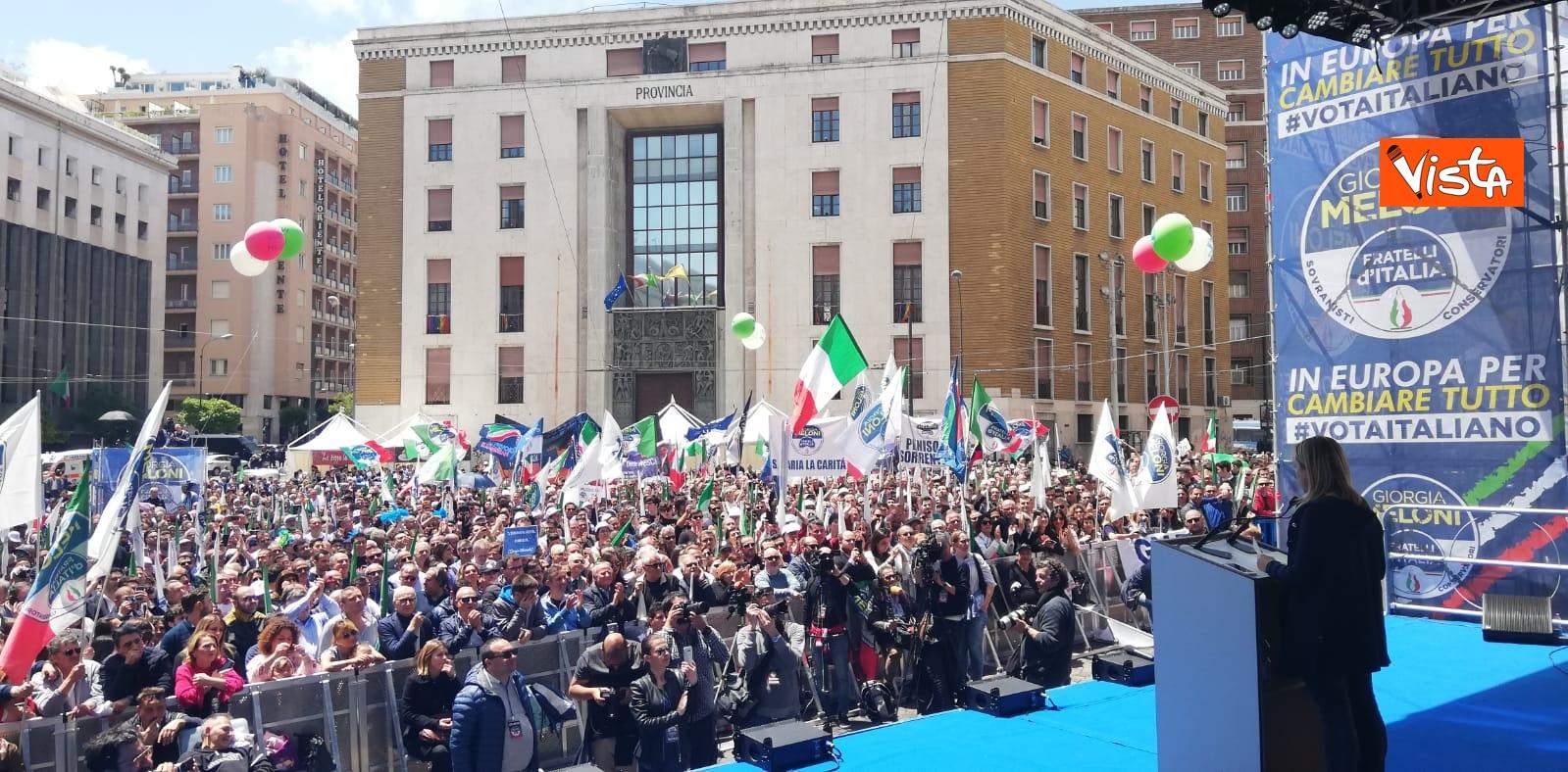 19-05-19 Europee Meloni chiude campagna elettorale a Napoli il comizio in piazza Matteotti
