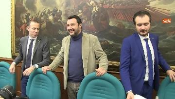 4 - Salvini con i capigruppo Romeo e Molinari in conferenza stampa immagini
