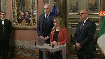 3 - Meloni, Rampelli e Crosetto al termine delle Consultazioni al Senato
