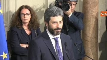 6 - Roberto Fico e il segretario generale del Quirinale Ugo Zampetti dichiarano al termine delle Consultazioni