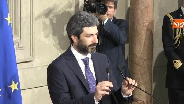 5 - Roberto Fico e il segretario generale del Quirinale Ugo Zampetti dichiarano al termine delle Consultazioni