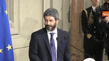 4 - Roberto Fico e il segretario generale del Quirinale Ugo Zampetti dichiarano al termine delle Consultazioni