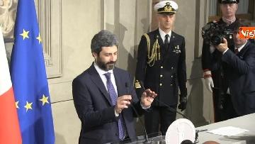 3 - Roberto Fico e il segretario generale del Quirinale Ugo Zampetti dichiarano al termine delle Consultazioni
