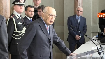 7 - Napolitano dopo il colloquio con Mattarella immagini
