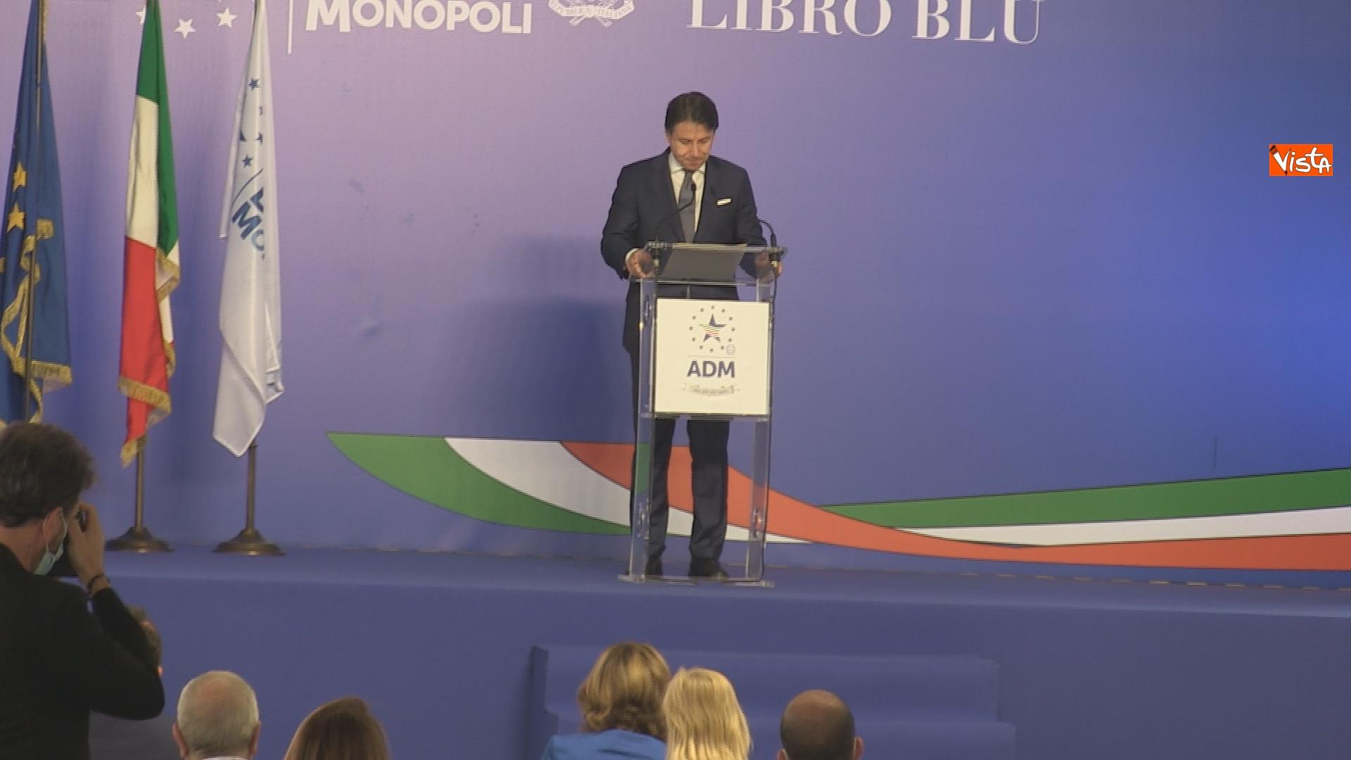 Un momento del'intervento del presidente del Consiglio Giuseppe Conte