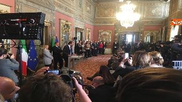 8 - Salvini, Berlusconi, Meloni al termine delle Consultazioni con la presidente del Senato Casellati
