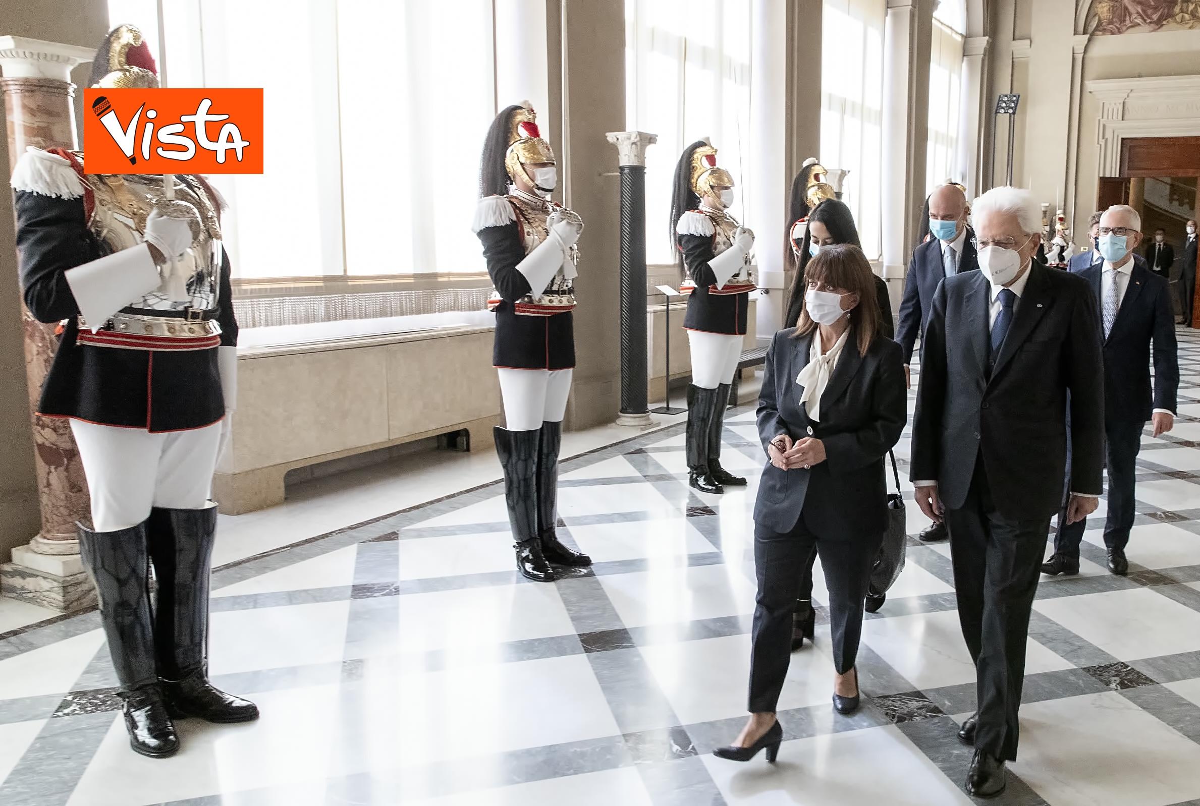 09-10-20 Mattarella riceve la Presidente della Repubblica Ellenica Sakellaropoulou, le immagini_09