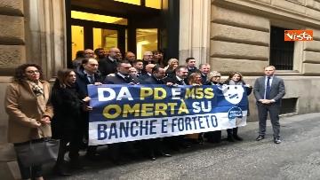 1 - Protesta FdI a Montecitorio sul mancato insediamento commissioni d'inchiesta su banche e Forteto
