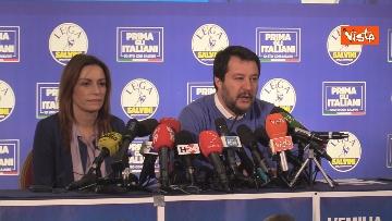 1 - Salvini e Borgonzoni in conferenza stampa sul risultato del voto in Emilia-Romagna, le immagini