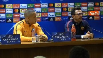 5 - Roma Liverpool la conferenza stampa di Eusebio Di Francesco e Radja Nainggolan