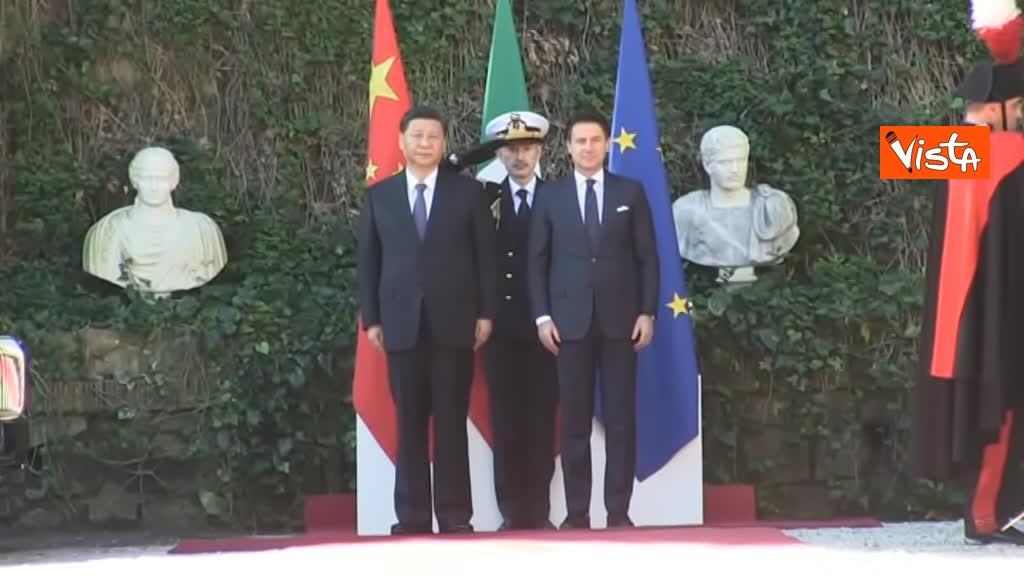 23-03-19 Conte accoglie Xi Jinping a Villa Madama_06_Xi Jinping e Conte durante il picchetto d'onore