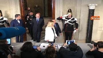 8 - Salvini, Berlusconi e Meloni dopo consultazioni con Mattarella
