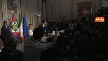 3 - Salvini, Berlusconi e Meloni dopo consultazioni con Mattarella