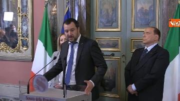 4 - Salvini, Berlusconi, Meloni al termine delle Consultazioni con la presidente del Senato Casellati