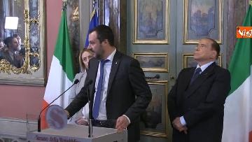 2 - Salvini, Berlusconi, Meloni al termine delle Consultazioni con la presidente del Senato Casellati