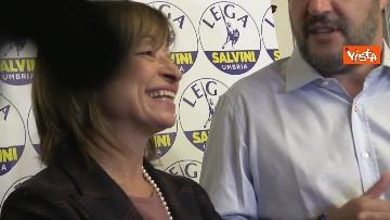 9 - 27-10-19 Salvini e Tesei in conferenza dopo i primi exit poll delle Regionali in Umbria