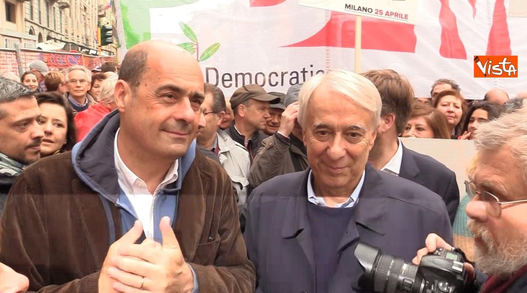 Zingaretti e Pisapia alla manifestazione 25 Aprile a Milano