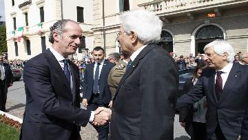 1 - 25 Aprile, il Presidente Mattarella assiste alla Cerimonia dell'alzabandiera a Vittorio Veneto