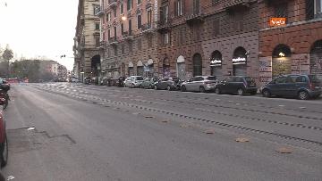 8 - I portici di piazza Vittorio a Roma deserti. Il quartiere è spento