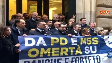2 - Protesta FdI a Montecitorio sul mancato insediamento commissioni d'inchiesta su banche e Forteto